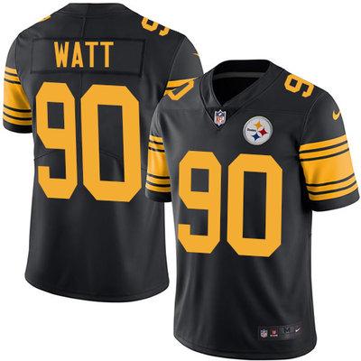 Youth Nike Steelers #90 T. J. Watt Black Stitched NFL Limited Rush Jersey