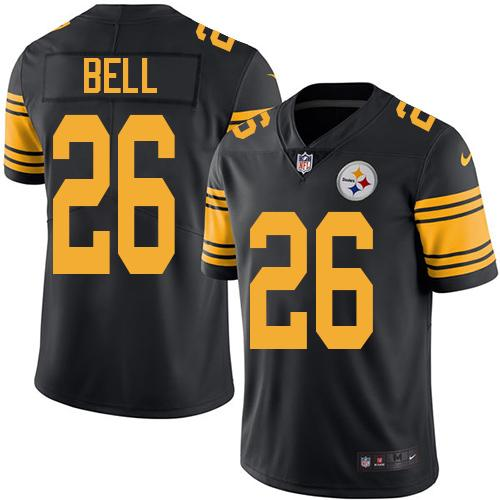 Youth Nike Steelers #26 Le'Veon Bell Black Stitched NFL Limited Rush Jersey