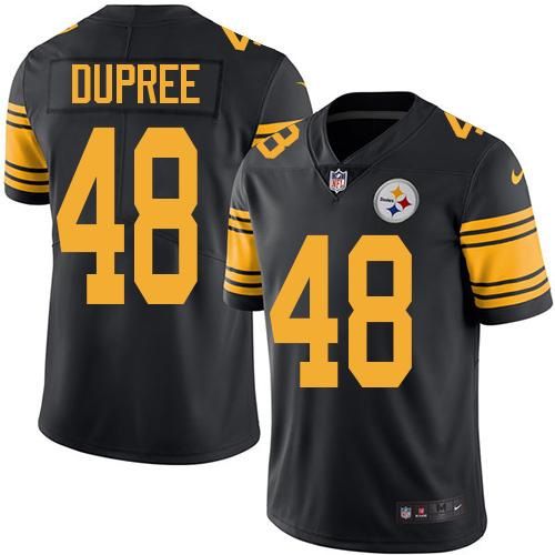 Youth Nike Steelers #48 Bud Dupree Black Stitched NFL Limited Rush Jersey
