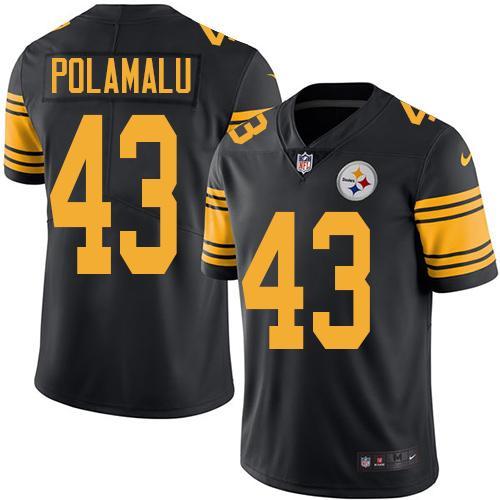 ID90279 Youth Nike Steelers #43 Troy Polamalu Black Stitched NFL Limited Rush Jersey
