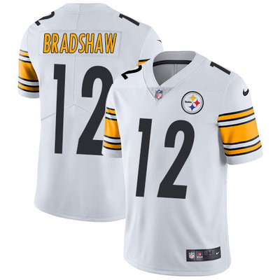 ID90308 Youth Nike Steelers #12 Terry Bradshaw White Stitched NFL Vapor Untouchable Limited Jersey