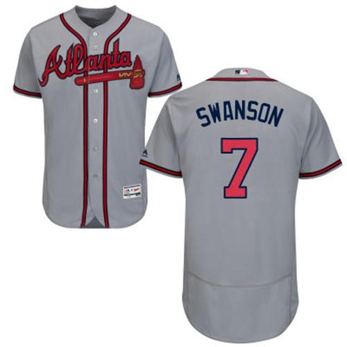 Men's Atlanta Braves #7 Dansby Swanson Grey Flexbase Authentic Collection Stitched MLB Jersey
