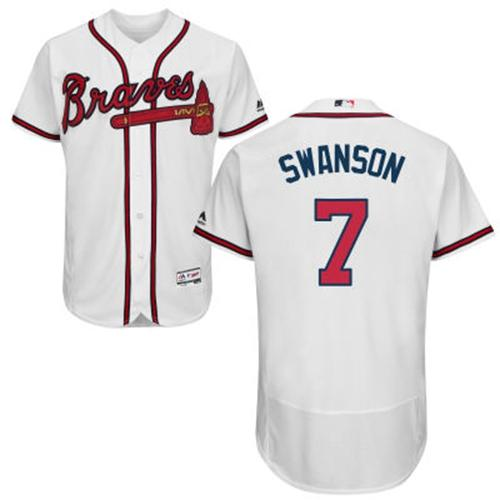 Men's Atlanta Braves #7 Dansby Swanson White Flexbase Authentic Collection Stitched MLB Jersey
