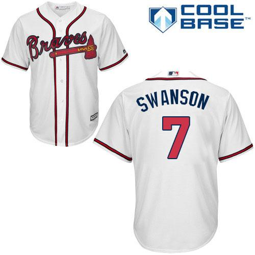 Men's Atlanta Braves #7 Dansby Swanson White Cool Base Stitched MLB Jersey