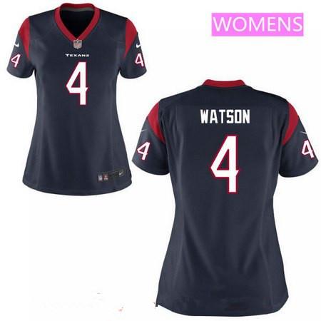 Women's 2017 NFL Draft Houston Texans #4 Deshaun Watson Navy Blue Alternate Stitched NFL Nike Game Jersey