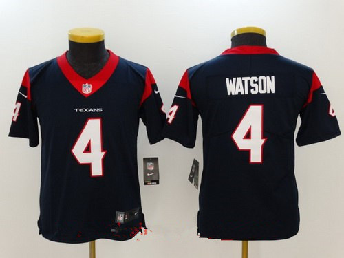 Youth Houston Texans #4 Deshaun Watson Navy Blue 2017 Vapor Untouchable Stitched NFL Nike Limited Jersey
