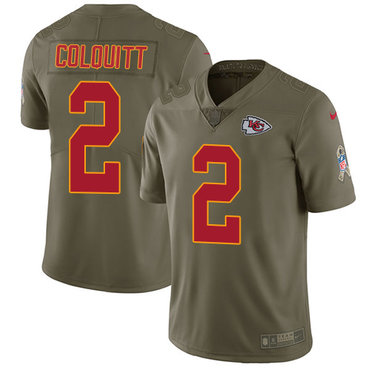 Nike Kansas City Chiefs #2 Dustin Colquitt Olive Men's Stitched NFL Limited 2017 Salute to Service Jersey