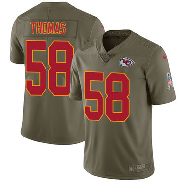 Nike Kansas City Chiefs #58 Derrick Thomas Olive Men's Stitched NFL Limited 2017 Salute to Service Jersey