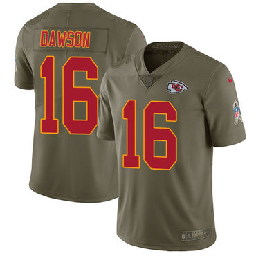 ID90051 Nike Kansas City Chiefs #16 Len Dawson Olive Men\'s Stitched NFL Limited 2017 Salute to Service Jersey