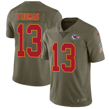 Nike Kansas City Chiefs #13 De'Anthony Thomas Olive Men's Stitched NFL Limited 2017 Salute to Service Jersey