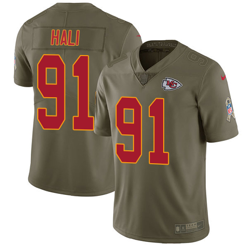 Nike Kansas City Chiefs #91 Tamba Hali Olive Men's Stitched NFL Limited 2017 Salute to Service Jersey