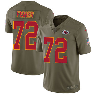 Nike Kansas City Chiefs #72 Eric Fisher Olive Men's Stitched NFL Limited 2017 Salute to Service Jersey
