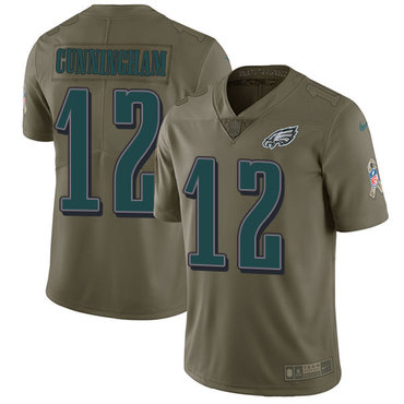 Nike Philadelphia Eagles #12 Randall Cunningham Olive Men's Stitched NFL Limited 2017 Salute To Service Jersey