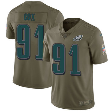 Nike Philadelphia Eagles #91 Fletcher Cox Olive Men's Stitched NFL Limited 2017 Salute To Service Jersey