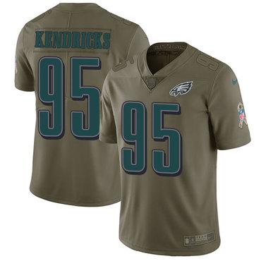 Nike Philadelphia Eagles #95 Mychal Kendricks Olive Men's Stitched NFL Limited 2017 Salute To Service Jersey