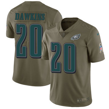 Nike Philadelphia Eagles #20 Brian Dawkins Olive Men's Stitched NFL Limited 2017 Salute To Service Jersey
