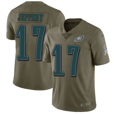 Nike Philadelphia Eagles #17 Alshon Jeffery Olive Men's Stitched NFL Limited 2017 Salute To Service Jersey