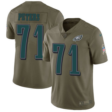 Nike Philadelphia Eagles #71 Jason Peters Olive Men's Stitched NFL Limited 2017 Salute To Service Jersey