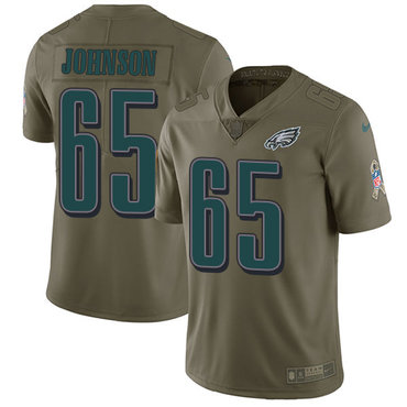 Nike Philadelphia Eagles #65 Lane Johnson Olive Men's Stitched NFL Limited 2017 Salute To Service Jersey