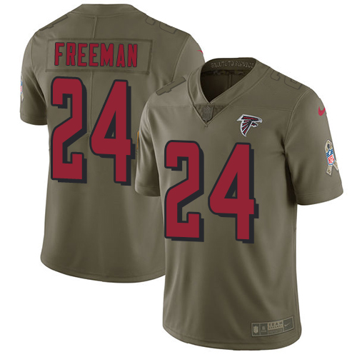 ID90145 Nike Atlanta Falcons #24 Devonta Freeman Olive Men\'s Stitched NFL Limited 2017 Salute To Service Jersey