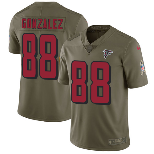 ID90130 Nike Atlanta Falcons #88 Tony Gonzalez Olive Men\'s Stitched NFL Limited 2017 Salute To Service Jersey