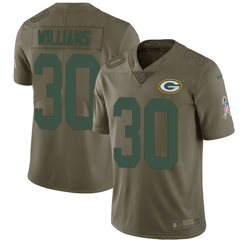 Nike Green Bay Packers #30 Jamaal Williams Olive Men's Stitched NFL Limited 2017 Salute To Service Jersey