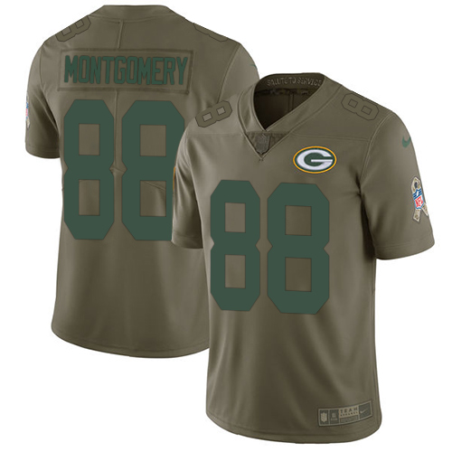Nike Green Bay Packers #88 Ty Montgomery Olive Men's Stitched NFL Limited 2017 Salute To Service Jersey