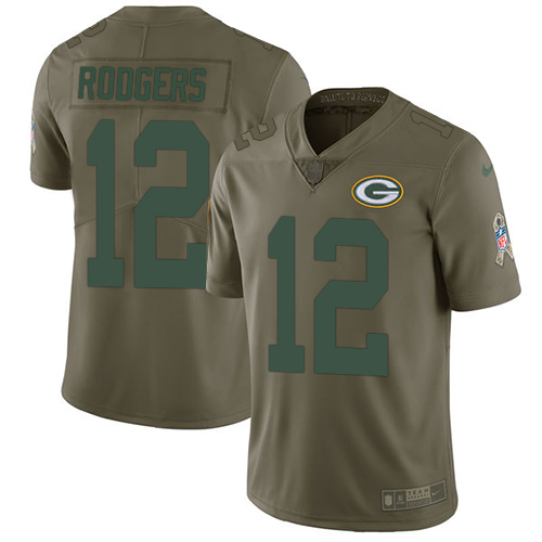 Nike Green Bay Packers #12 Aaron Rodgers Olive Men's Stitched NFL Limited 2017 Salute To Service Jersey