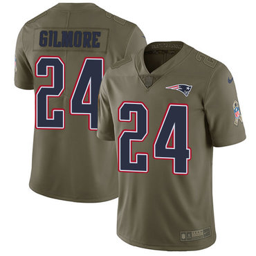 Nike New England Patriots #24 Stephon Gilmore Olive Men's Stitched NFL Limited 2017 Salute To Service Jersey