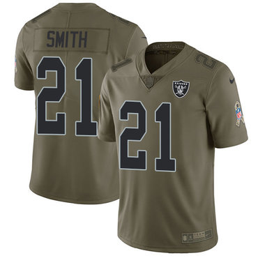 ID90185 Nike Oakland Raiders #21 Sean Smith Olive Men\'s Stitched NFL Limited 2017 Salute To Service Jersey