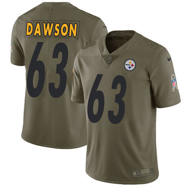 ID90039 Nike Pittsburgh Steelers #63 Dermontti Dawson Olive Men\'s Stitched NFL Limited 2017 Salute to Service Jersey