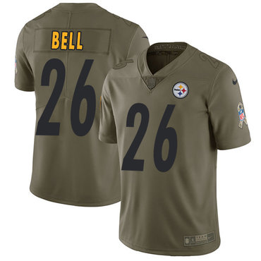 ID90036 Nike Pittsburgh Steelers #26 Le\'Veon Bell Olive Men\'s Stitched NFL Limited 2017 Salute to Service Jersey