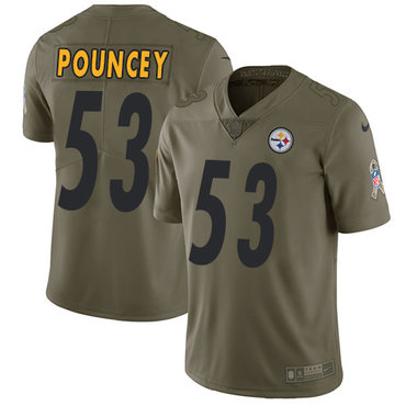 ID90040 Nike Pittsburgh Steelers #53 Maurkice Pouncey Olive Men\'s Stitched NFL Limited 2017 Salute to Service Jersey