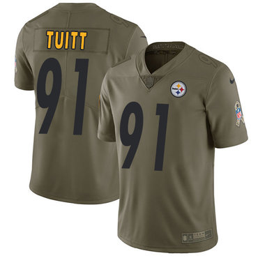ID90046 Nike Pittsburgh Steelers #91 Stephon Tuitt Olive Men\'s Stitched NFL Limited 2017 Salute to Service Jersey