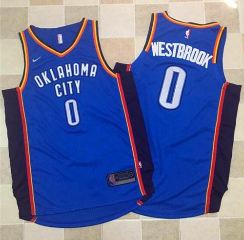 Nike Oklahoma City Thunder #0 Russell Westbrook Blue Stitched NBA Jersey