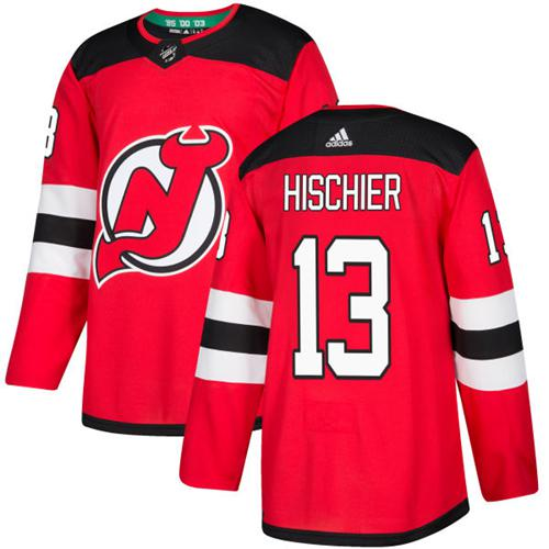 Adidas New Jersey Devils #13 Nico Hischier Red Home Authentic Stitched NHL Jersey