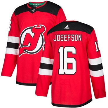 Adidas New Jersey Devils #16 Jacob Josefson Red Home Authentic Stitched NHL Jersey