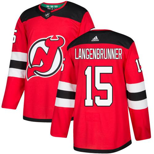 Adidas New Jersey Devils #15 Langenbrunner Red Home Authentic Stitched NHL Jersey