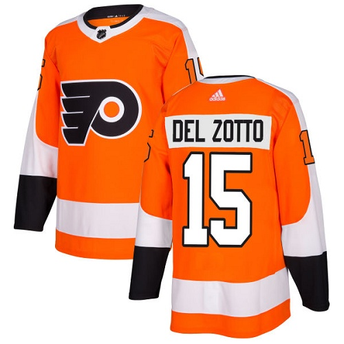 Adidas Philadelphia Flyers #15 Michael Del Zotto Orange Home Authentic Stitched NHL Jersey