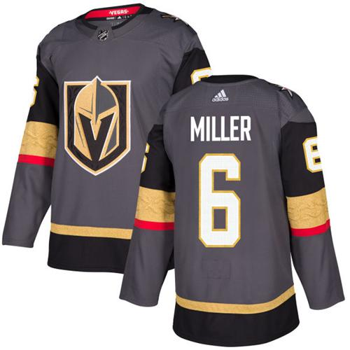 Adidas Vegas Golden Knights #6 Colin Miller Grey Home Authentic Stitched NHL Jersey