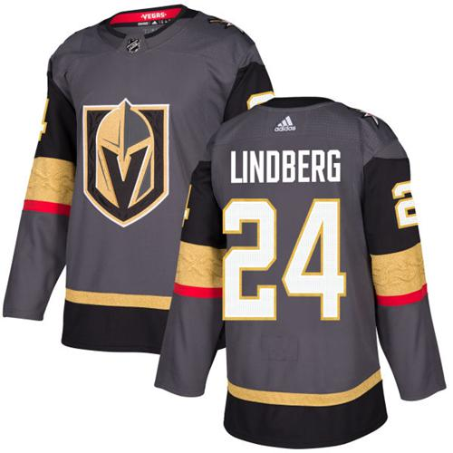 Adidas Vegas Golden Knights #24 Oscar Lindberg Grey Home Authentic Stitched NHL Jersey
