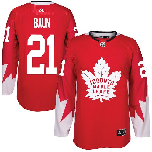 65651a385f1 Adidas Toronto Maple Leafs #21 Bobby Baun Red Team Canada Authentic  Stitched NHL Jersey