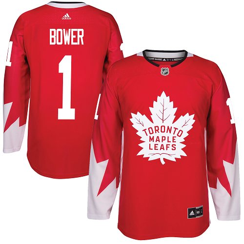Adidas Toronto Maple Leafs #1 Johnny Bower Red Team Canada Authentic Stitched NHL Jersey