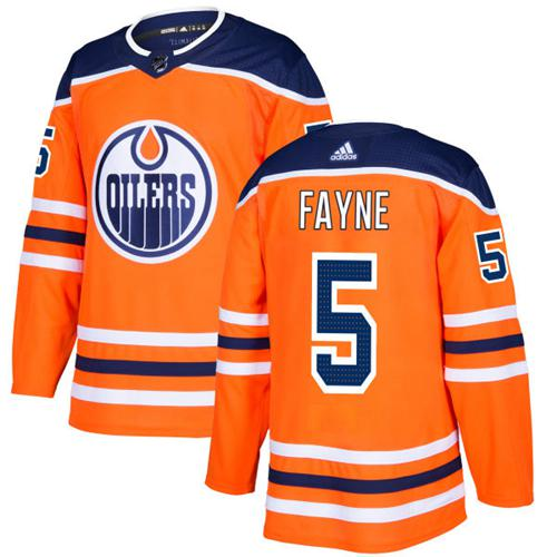 Adidas Edmonton Oilers #5 Mark Fayne Orange Home Authentic Stitched NHL Jersey