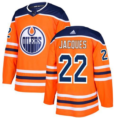 Adidas Edmonton Oilers #22 Jean-Francois Jacques Orange Home Authentic Stitched NHL Jersey