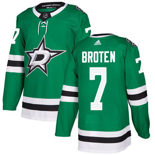 Adidas Dallas Stars #7 Neal Broten Green Home Authentic Stitched NHL Jersey