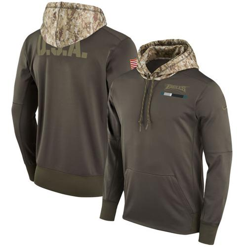 Men's Philadelphia Eagles Nike Olive Salute to Service Sideline Therma Pullover Hoodie