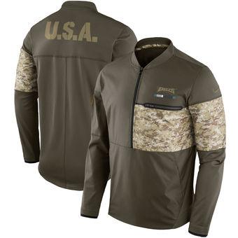 Nike Eagles Olive Salute to Service Sideline Hybrid Half-Zip Pullover Jacket