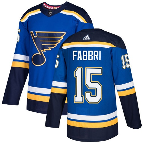 Men's Adidas St. Louis Blues #15 Robby Fabbri Blue Home Authentic Stitched NHL Jersey