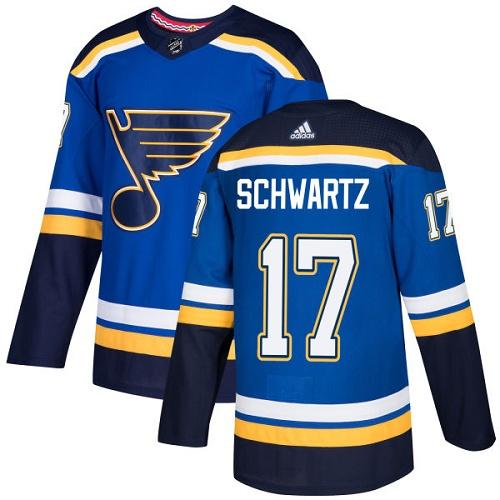 Men's Adidas St. Louis Blues #17 Jaden Schwartz Blue Home Authentic Stitched NHL Jersey